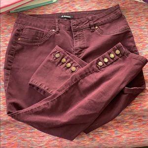 Maroon crop skinny jeans